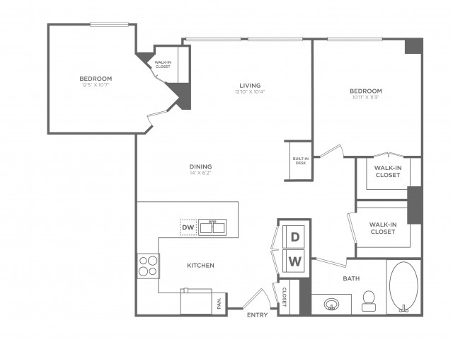 Clever | 2 bed 1 bath | from 981 square feet