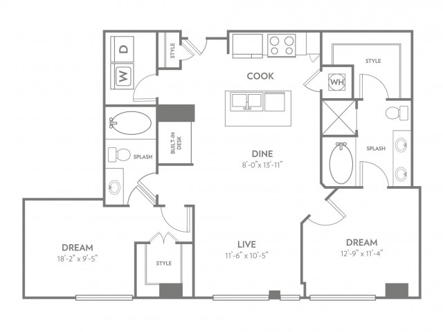 Uptown | 2 bed 2 bath | from 1149 square feet