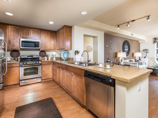 Image of Maple Cabinetry with Brushed Chrome Hardware for Calypso Apartments and Lofts