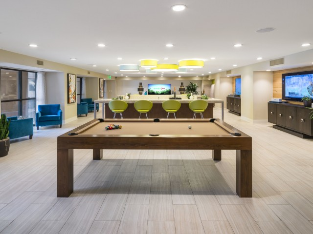 Image of Game Lounge with Billiards, Shuffleboard, Bar, Flat-Screen TV's, Video Gaming and Group Seating for Verge