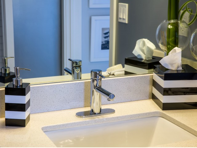 Image of Moen® fixtures and faucets in bathrooms for Intown