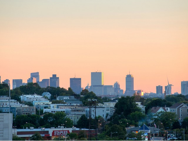 Roof deck views of Boston skyline