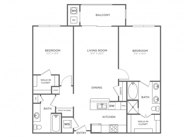 Potomac | 2 bed 2 bath | from 1070 square feet