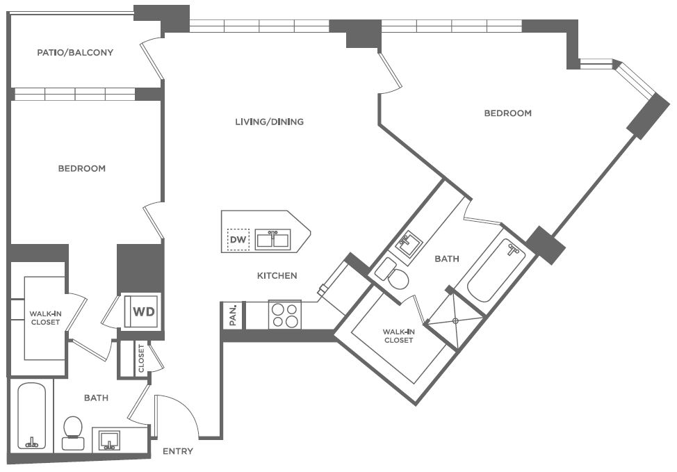 B3 | 2 bed 2 bath | from 1,104 square feet