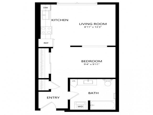 1x1 floor plan