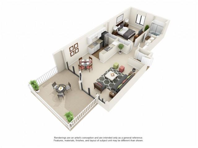 1x1 3D floor plan