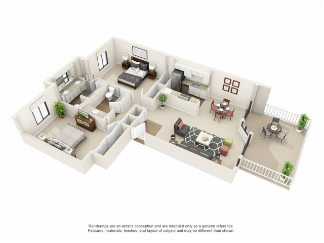 2x2 3D floor plan