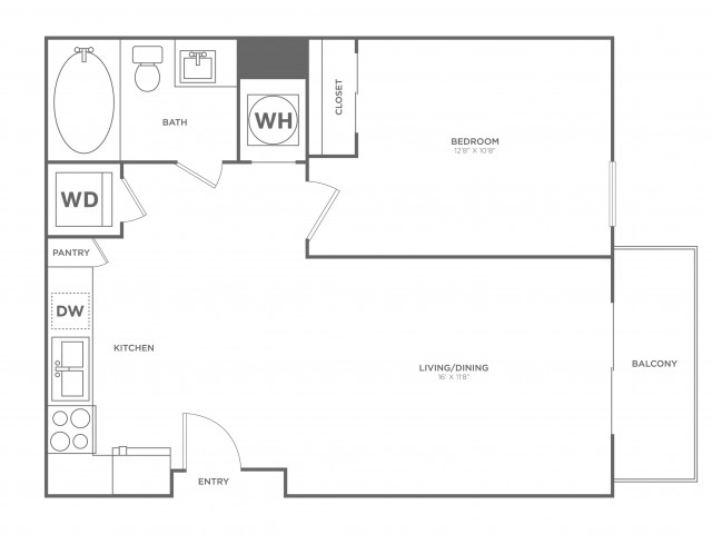 A2 | 1 bed 1 bath | from 704 square feet