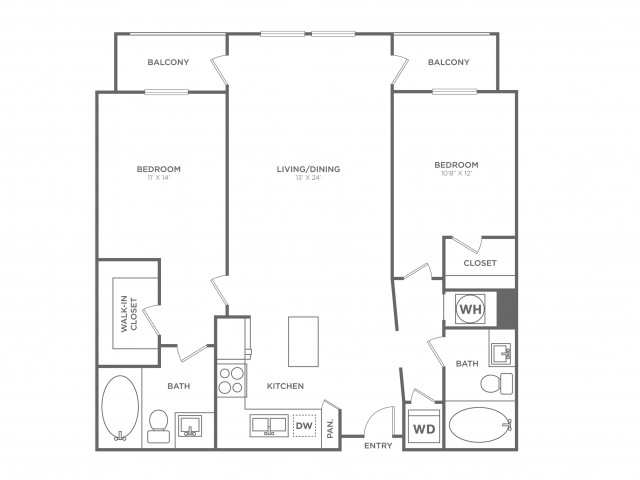 B6 | 2 Bedroom 2 Bathroom Floor Plan | 1224 Square Feet