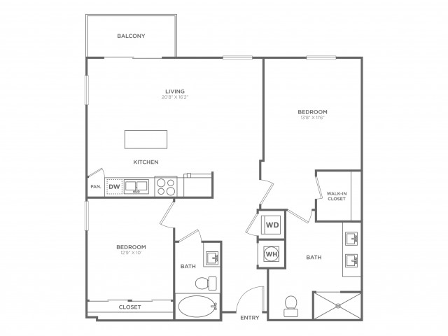 BC1 Floorplan | 2 bed/2Bath 1119 Square Feet