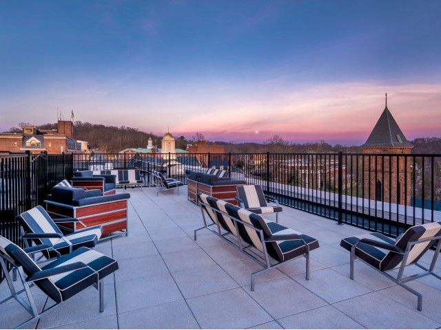 Rooftop deck with views of Morristown