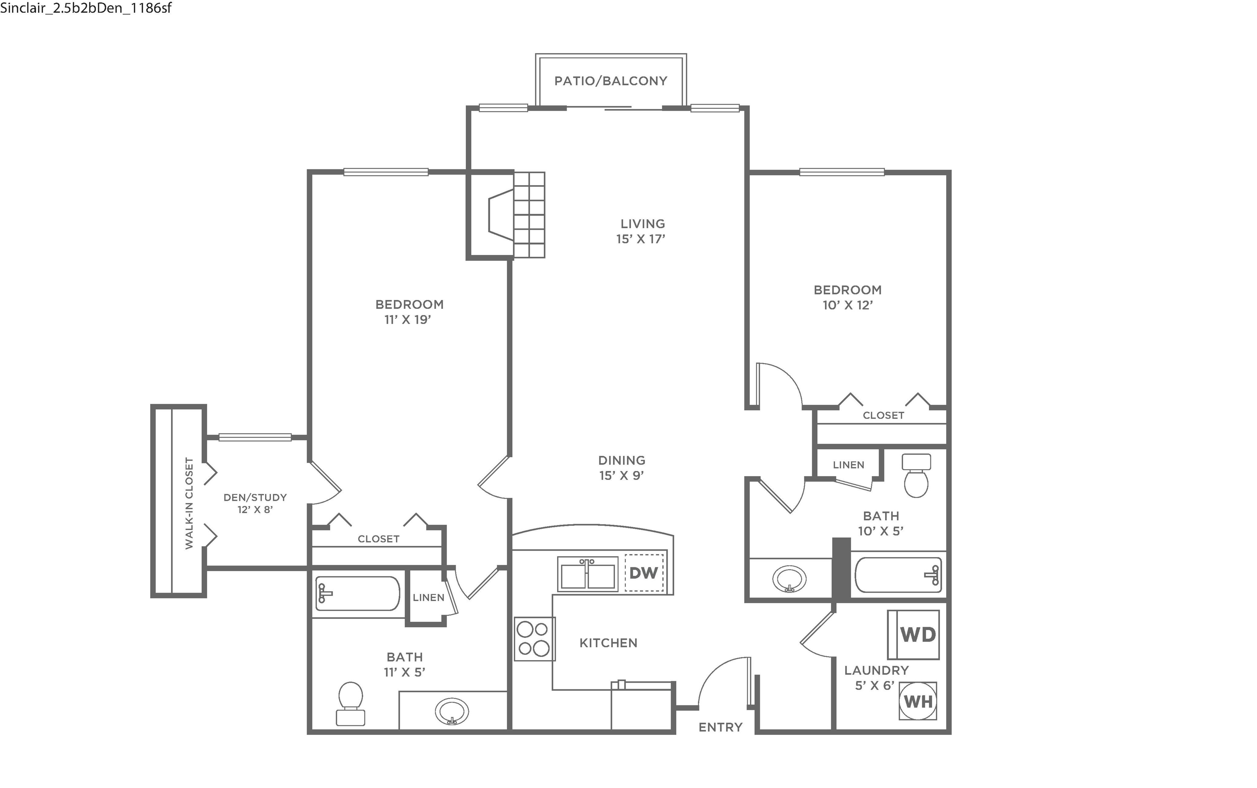 Sinclair w/ Den-Restored | 2 bed 2 bath | from 1,186 sq ft