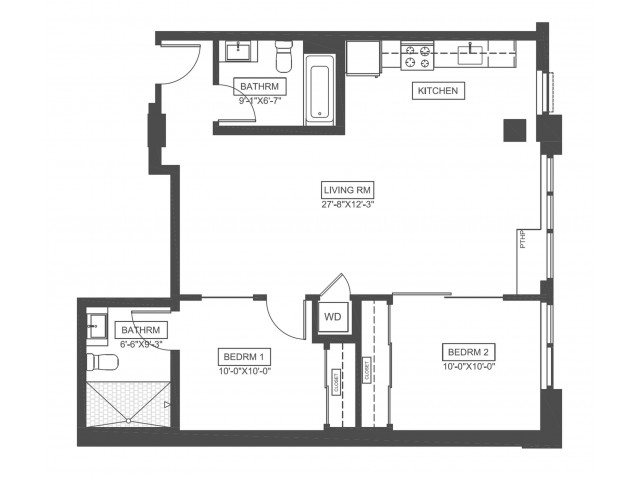 C0O | 2 bed 2 bath | 886 sq ft