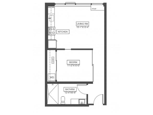 A1H | 1 bed 1 bath | 560 sq ft