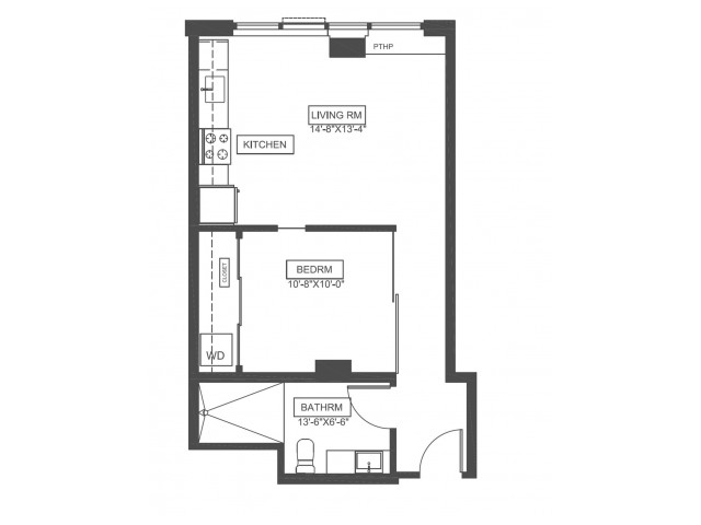 A1F | 1 bed 1 bath | 539 sq ft
