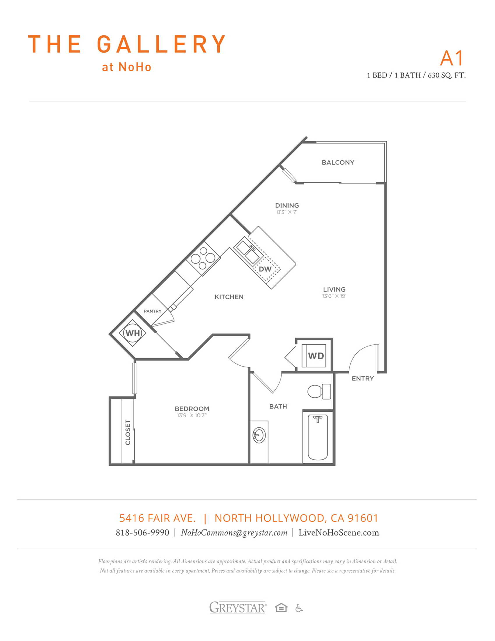 A1 | 1 bed 1 bath | from 630 square feet