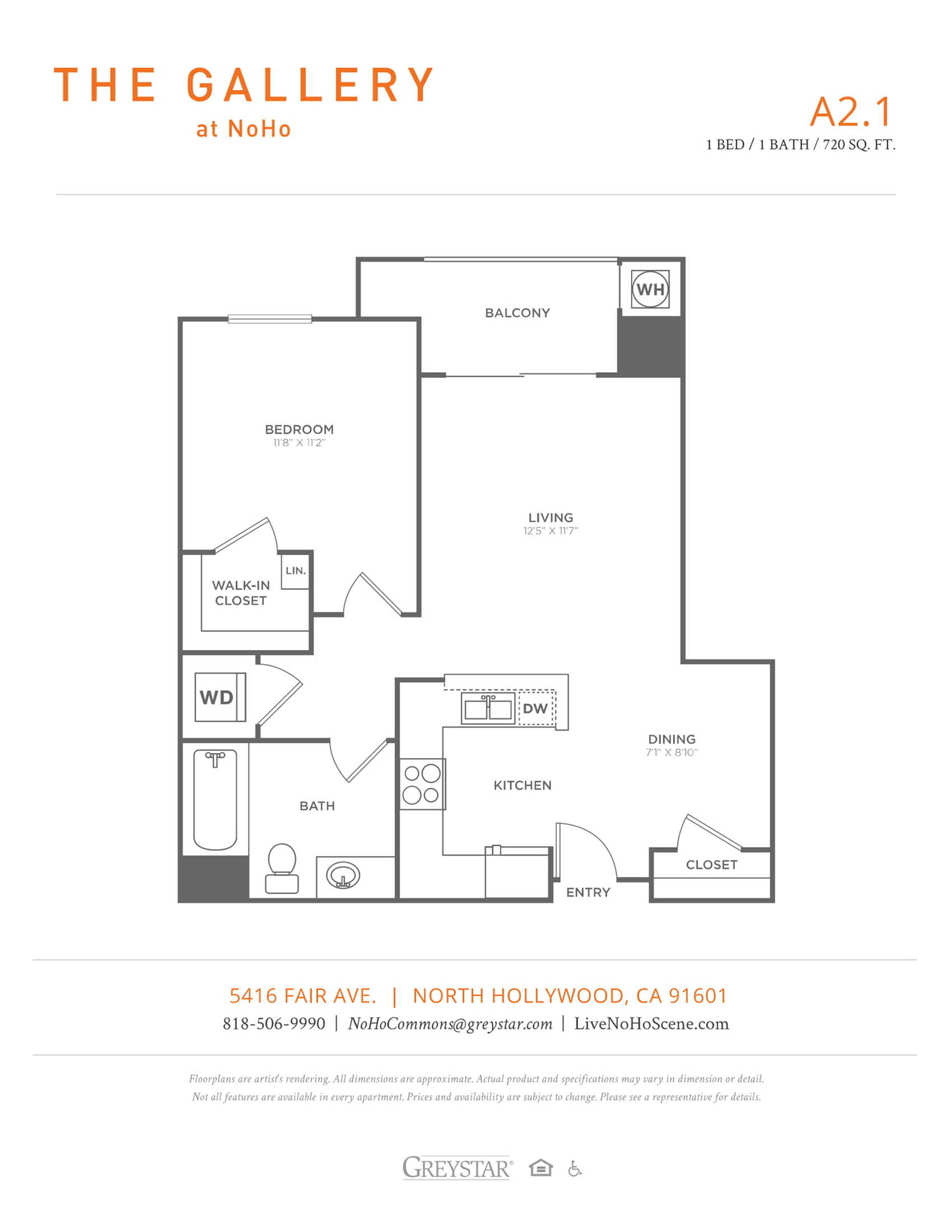 A2.1 | 1 bed 1 bath | from 720 square feet
