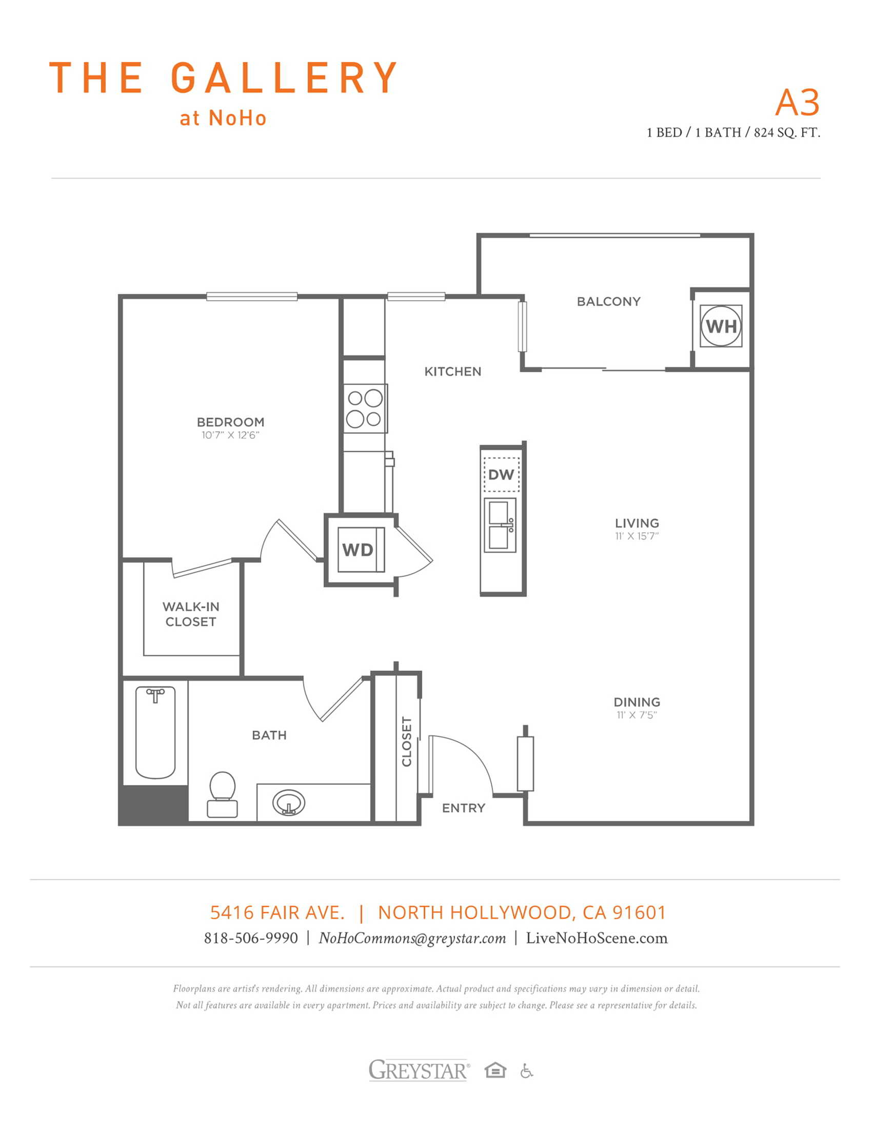 A3 | 1 bed 1 bath | from 824 square feet