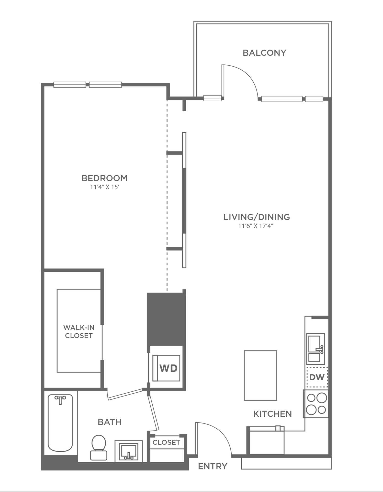 A | 1 bed 1 bath | from 740 square feet
