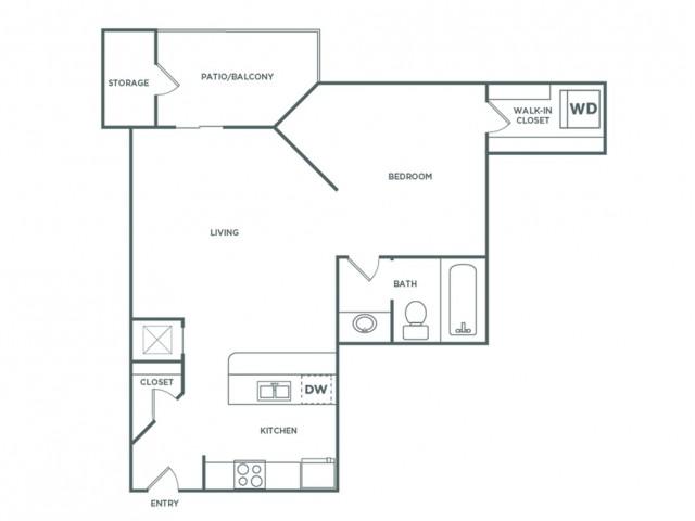 577 sq ft 1 bed 1 bath Premium