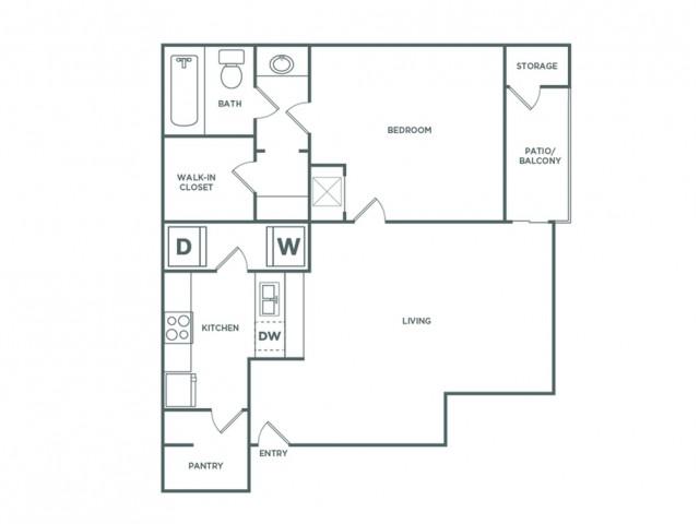 765 sq ft 1 bed 1 bath A
