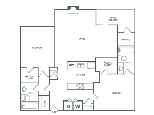 1241 sq ft 2 bed 2 bath Elite