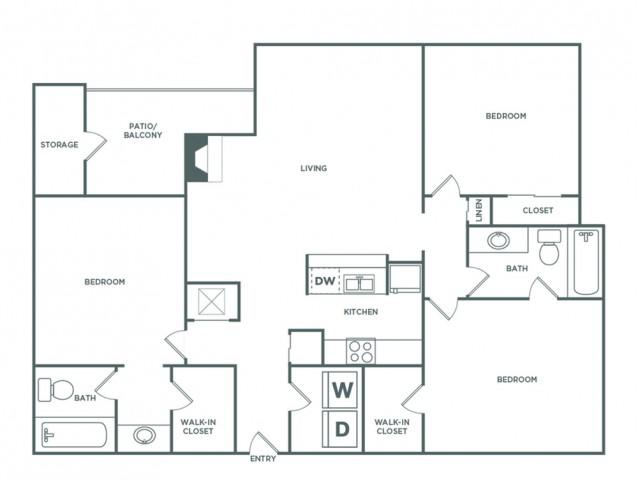 1389 sq ft 3 bed 2 bath Premium