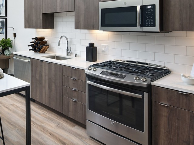 Stainless steep oven, microwave and dishwasher