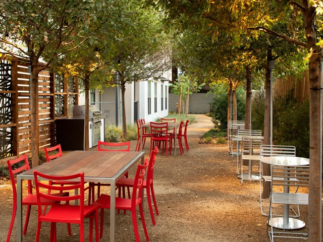 Outdoor courtyard featuring Bosque garden and grill area, hammock lounge and garden pathway with an edible garden