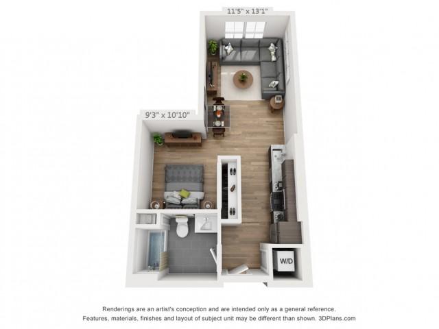 Studio A0 590 sq ft