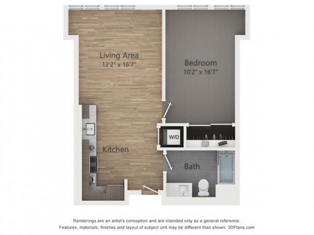 One Bedroom A1  661 sq ft