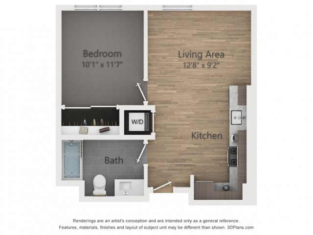 One Bedroom A1.1  570 sq ft
