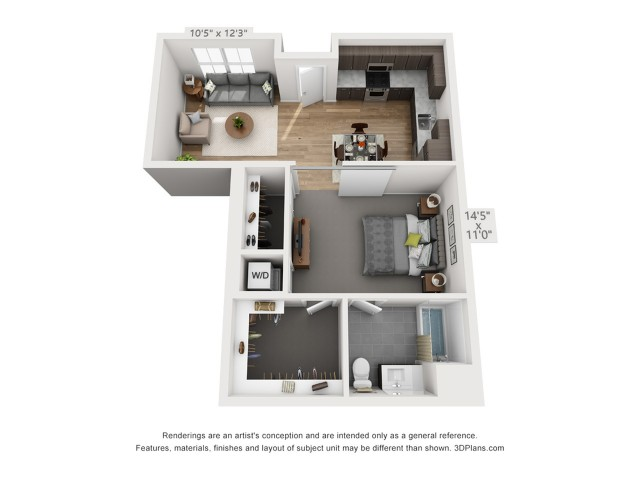 One Bedroom A13  708 sq ft