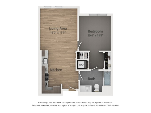 One Bedroom A2.1  664 sq ft