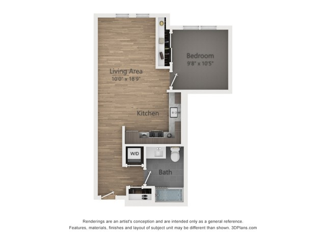 One Bedroom A3.1  594 sq ft