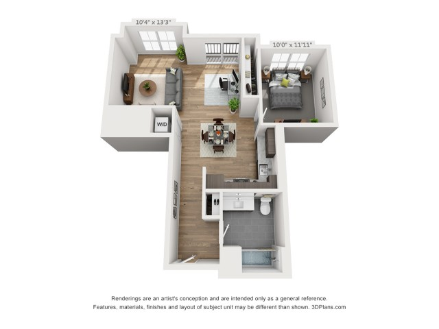 One Bedroom A6  799 sq ft