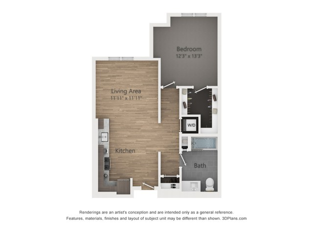 One Bedroom A7  743 sq ft