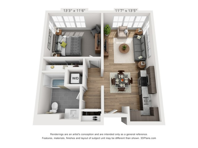 One Bedroom A9  709 sq ft
