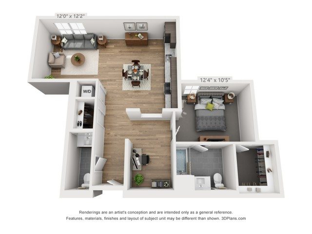 One Bedroom AD1  1037 sq ft