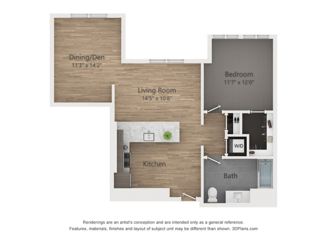One Bedroom AD3.1  872 sq ft