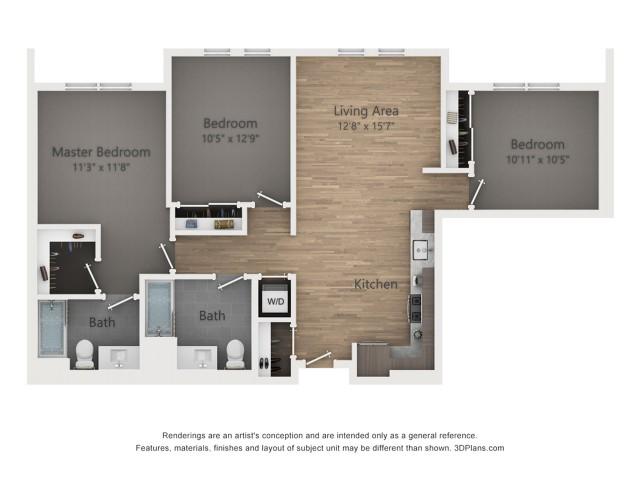Three Bedroom C1 1168 Sq ft