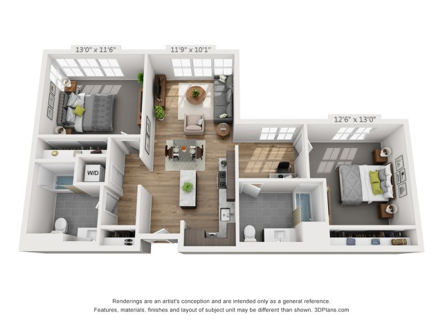 Two Bedroom B6 1062 Sq ft