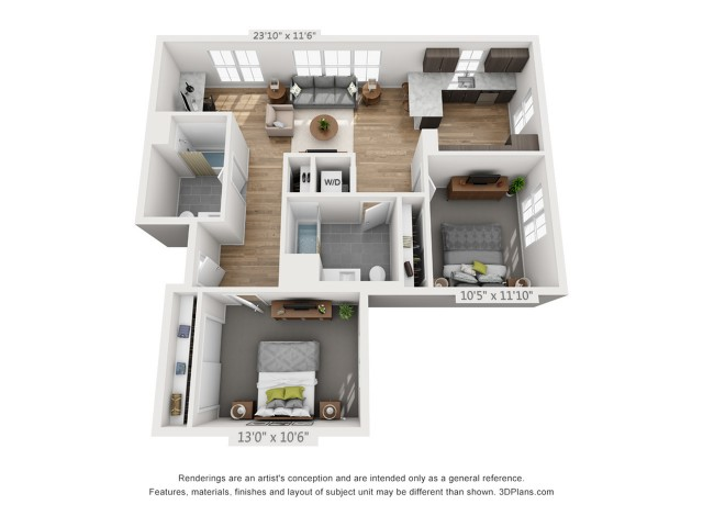 Two Bedroom B2.1 1136 Sq ft