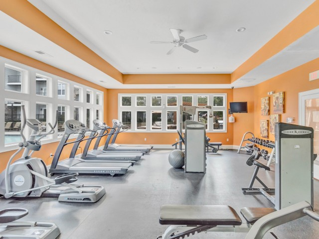 24-hour fitness center with cardio, resistance training, free weights, and climbing wall