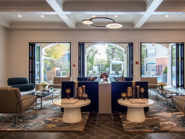Sleek and contemporary resident lounge featuring complimentary Wi-Fi