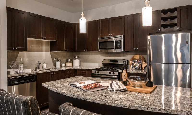 sleek chef-inspired kitchen with granite counters