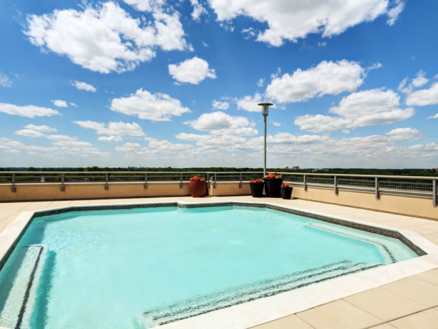 spacious resort style pool with stunning views of silver spring
