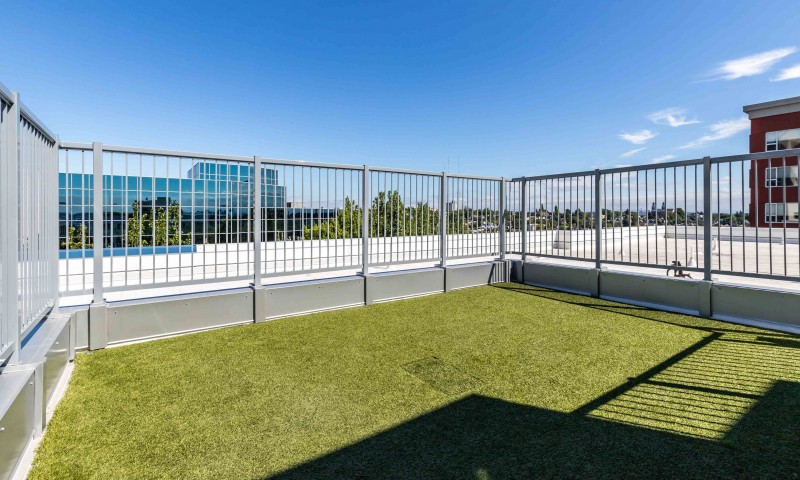 Image of Outdoor rooftop grilling station, dog run & covered alcove for Zig
