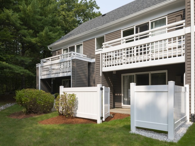 Private patio or balcony with beautiful wooded views