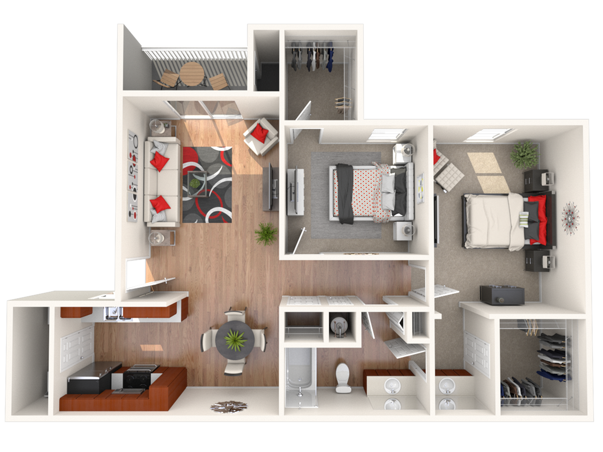 2 bed 1 bath | 963 sq. ft. 3D